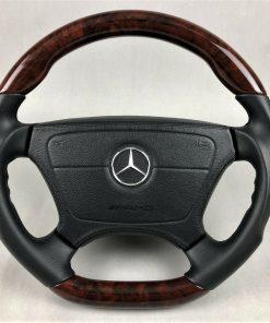 Mercedes AMG W140 W124 W202 R129 W210 W463 Leder Wurzelnuss Holz Airbag Lenkrad